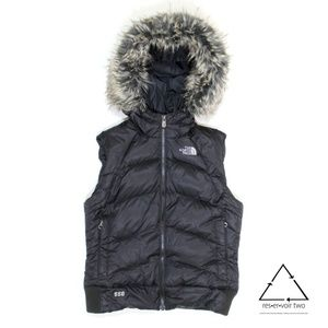 The North Face 550 Down Puffer Vest Hood Fur